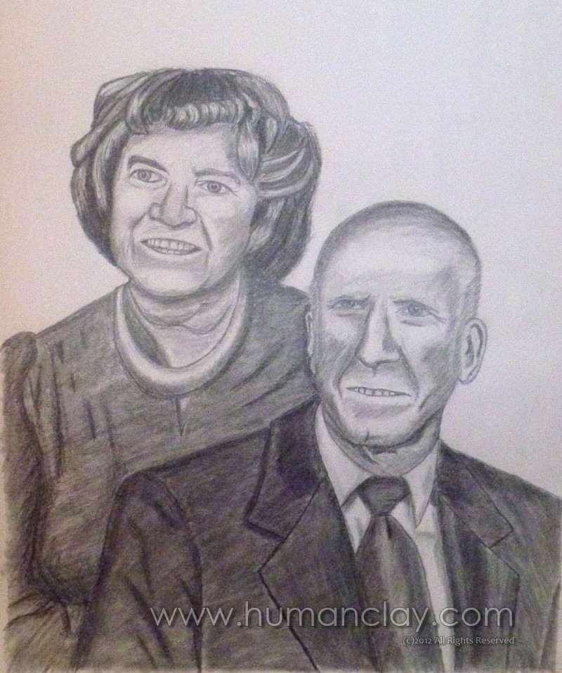 Graphite Drawing - My Grandparents